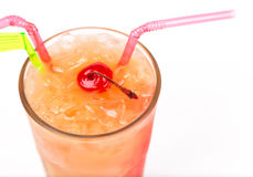 Freshness cocktail with ice in glass with drinking straw Stock Images
