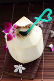 Freshness coconut juice. Stock Photos