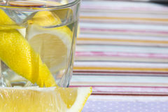 Freshness concept, homemade lemonade Summer detox drink with lemon in glass jars. Fresh water, refreshment drink Royalty Free Stock Photography
