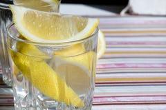 Freshness concept, homemade lemonade Summer detox drink with lemon in glass jars. Fresh water, refreshment drink Royalty Free Stock Photos
