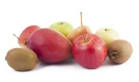 Freshness fruits on white background. (Mango, kiwi, apples, pears Royalty Free Stock Images
