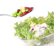Freshness lettuce bean and corn salad isolated Stock Photo