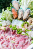 Freshness seafood on white dish Stock Images