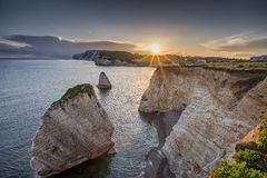 Freshwater Bay at Sundown. Freshwater Bay, Isle of Wight at Sundown Royalty Free Stock Photos