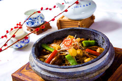 Freshwater eels braised with chili, vegetables and herbs in chin royalty free stock image