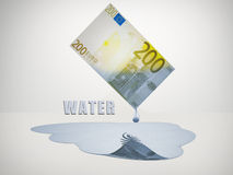 Freshwater. 200 Euro bill drips freshwater vector illustration