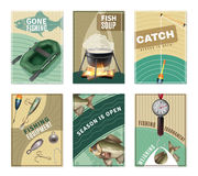 Freshwater Fishing 6 Posters Prints Collection Royalty Free Stock Images