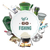 Freshwater Fishing Sport Round Frame Composition. Of classic equipment accessories and freshly caught fish  decorative vector illustration Royalty Free Stock Images