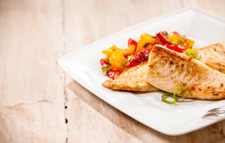 Freshwater fresh grilled tilapia fillets Stock Photos