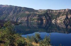 The freshwater Lake Nemrut formed inside Mt Nemrut near Tatvan in far eastern Turkey. Stock Photos