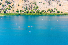 Freshwater lake in village Kavros in Crete  island, Greece. Magical turquoise waters, lagoons. Stock Photo