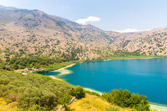 Freshwater lake in village Kavros in Crete  island, Greece. Magical turquoise waters, lagoons. Royalty Free Stock Photography