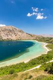 Freshwater lake in village Kavros in Crete  island, Greece. Magical turquoise waters, lagoons. Stock Photography