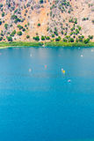 Freshwater lake in village Kavros in Crete  island, Greece. Magical turquoise waters, lagoons. Royalty Free Stock Photos