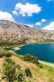 Freshwater lake in village Kavros in Crete  island, Greece. Magical turquoise waters, lagoons. Royalty Free Stock Photo