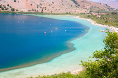 Freshwater lake in village Kavros in Crete  island, Greece. Magical turquoise waters, lagoons Stock Image