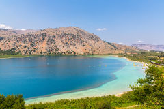 Freshwater lake in village Kavros in Crete  island, Greece. Magical turquoise waters, lagoons. Stock Images