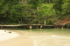 Freshwater river at Rincon beach, Samana peninsula Royalty Free Stock Images