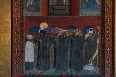 Fresk kondukt żałobny St Odilon w Armeńskiej katedrze wniebowzięcie Mary w Lviv, Ukraina zdjęcia royalty free