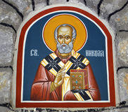 Fresk St Nicholas w kościół Obrazy Royalty Free