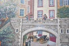 Fresk szczegóły od Parc De Los angeles Cetiere Stary Quebec miasta w Kanada Obrazy Royalty Free