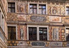 Fresk w podwórzu, Cesky Krumlov kasztel, republika czech obrazy royalty free