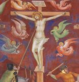 Fresk w San Gimignano - krzyżowanie fotografia stock