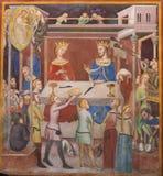 Fresk w San Gimignano - opowieść praca Obrazy Stock