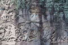 Fresko Angkor Wat/Angkor Thom Die alten Ruinen von einem historischen stockfotografie