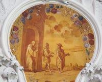 Fresko in Basilika St. Mang in Fussen, Bayern, Deutschland Stockfotografie