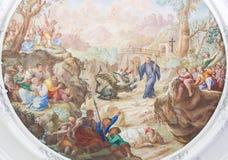 Fresko in Basilika St. Mang in Fussen, Bayern, Deutschland Lizenzfreie Stockfotos