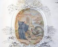 Fresko in Basilika St. Mang in Fussen, Bayern, Deutschland Stockbilder