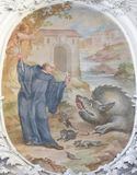 Fresko in Basilika St. Mang in Fussen, Bayern, Deutschland Stockbild