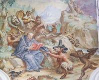 Fresko in Basilika St. Mang in Fussen, Bayern, Deutschland Lizenzfreies Stockbild