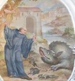 Fresko in Basilika St. Mang in Fussen, Bayern, Deutschland Lizenzfreies Stockfoto