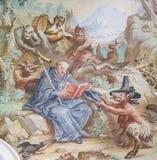 Fresko in Basilika St. Mang in Fussen, Bayern, Deutschland Lizenzfreie Stockfotografie