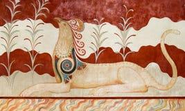 Fresko bij Archeologische Plaats Knossos in Kreta Stock Afbeeldingen