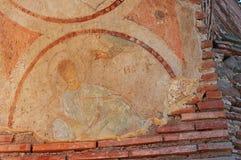 Fresko danificado da mão do deus da bênção Foto de Stock