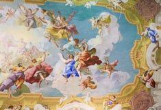 Fresko, das hauptsächliches Virtues in Stift Melk, Österreich darstellt Lizenzfreie Stockfotos