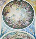 Fresko in der Kolonnade in Marianske Lazne lizenzfreie stockfotografie