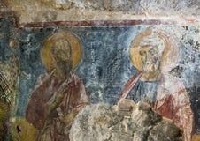 Fresko-Heilige Paul und Peter die Apostel, La Chiesa-Di San Lorenzo, Lama D Parco Rupestre ` Antico Stockfotografie