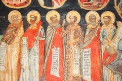 Fresko im bulgarischen Kloster Stockbild