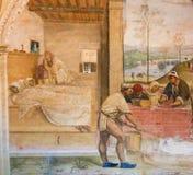 Fresko in Monte Oliveto Maggiore - Leben von St. Benedict stockfotografie