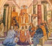 Fresko in Monte Oliveto Maggiore - Szene im Leben von St. Bened stockfotos