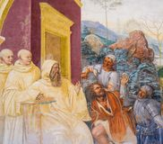 Fresko in Monte Oliveto Maggiore - Szene im Leben von St. Bened lizenzfreie stockfotografie