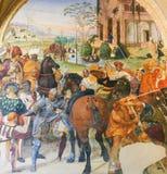 Fresko in Monte Oliveto Maggiore - Zerstörung von Montecassino lizenzfreie stockfotografie