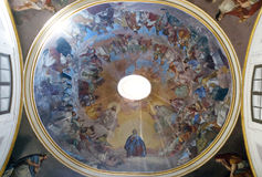 Fresko op het plafond van de kerk van Heilige Philip Neri, Complesso Di San Firenze in Florence royalty-vrije stock fotografie