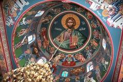 Fresko in orthodox klooster stock afbeelding