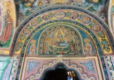 Fresko over de ingang aan de belangrijkste kathedraal van het Troyan-Klooster in Bulgarije Royalty-vrije Stock Afbeelding