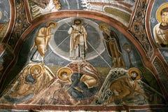 Fresko, rotskerk in Cappadocia, Turkije, Midden-Oosten Stock Afbeeldingen
